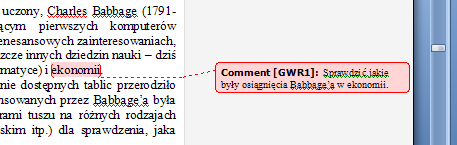 Word 2007 comment